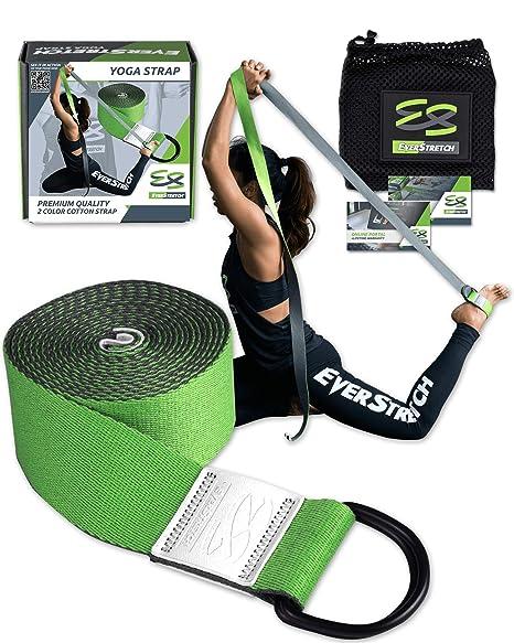 Cinturón de Yoga EverStretch para estiramientos. Cinturon ajustable de 2,5 metros para yoga, pilates, fitness y fisioterapia. Diseñado para ser el ...