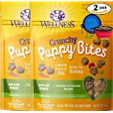 Wellness Puppy Bites for Dogs Bundle 2 Pack - 12 oz. (Chicken Carrots) W/ Bonus Hot Spot Pet Travel Bowl
