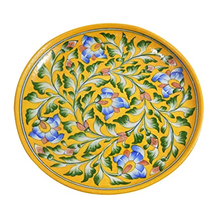 Wall Sculpture Wall Decor Handmade Decorated Blue Pottery Art 10u0026quot; Inch Ceramic Wall Plate Collector  sc 1 st  Amazon.com & Amazon.com: Wall Sculpture Wall Decor Handmade Decorated Blue ...