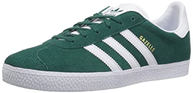 adidas Originals Unisex Gazelle Sneaker, White/Noble Green, 1 M US Little Kid