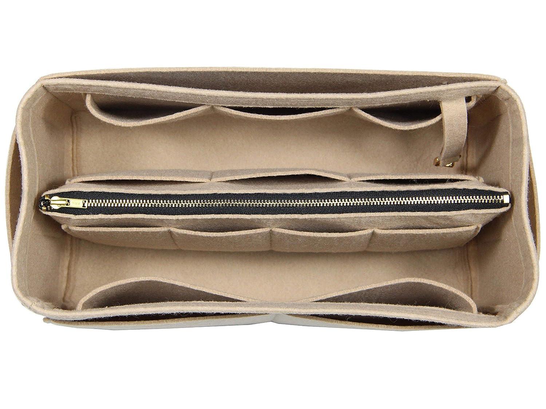 [Fits Neverfull GM/Speedy 40, Khaki] Purse Insert (3mm Felt, Detachable Pouch w/Metal Zip), Felt Tote Bag Organizer