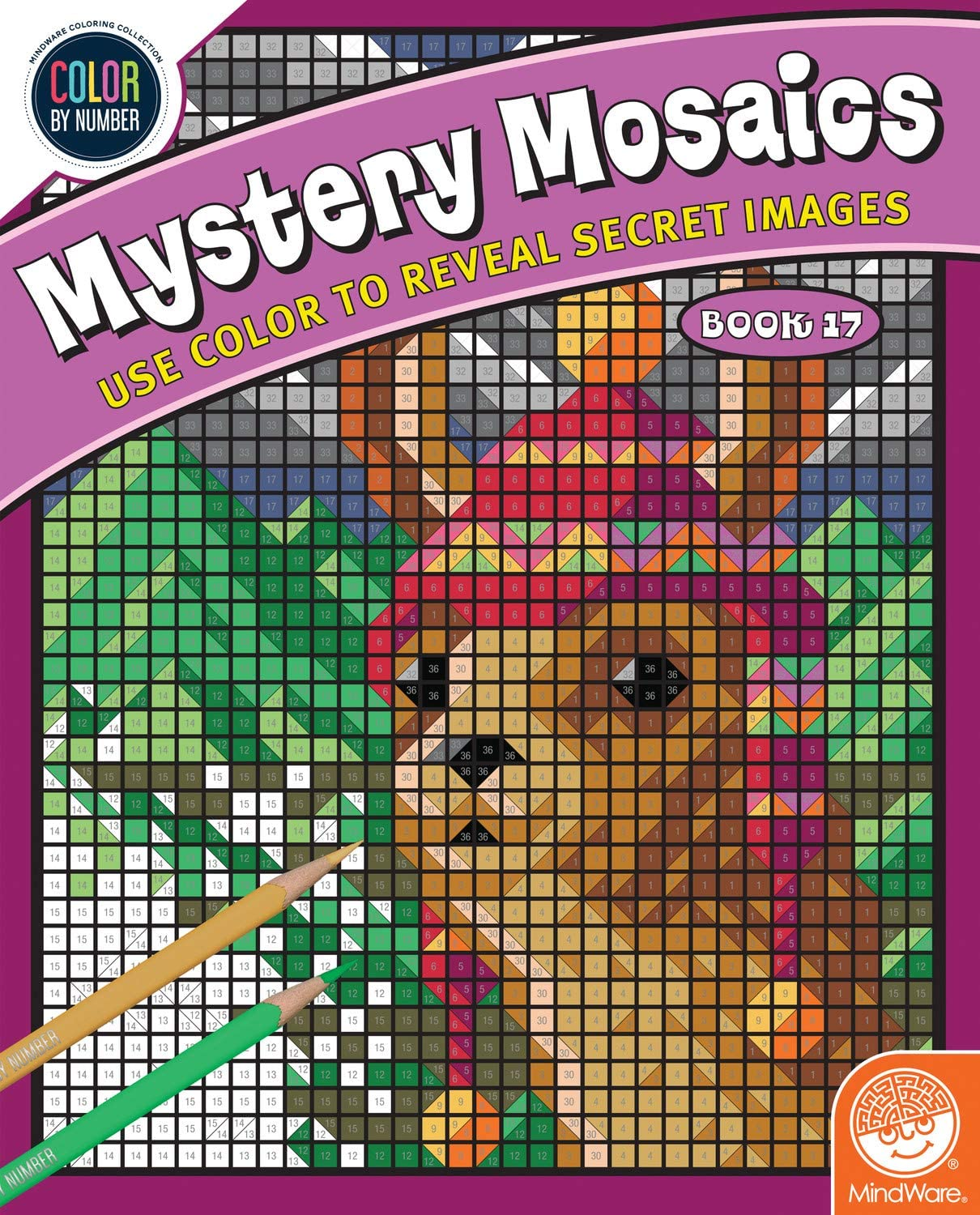 Fun Challenge with 18 Mosaic Puzzles Activity Coloring Book for Kids MindWare Color-by-Number Mystery Mosaics: Book 17 Engaging Quiet time workbook for Boys /& Girls Teens /& Adults