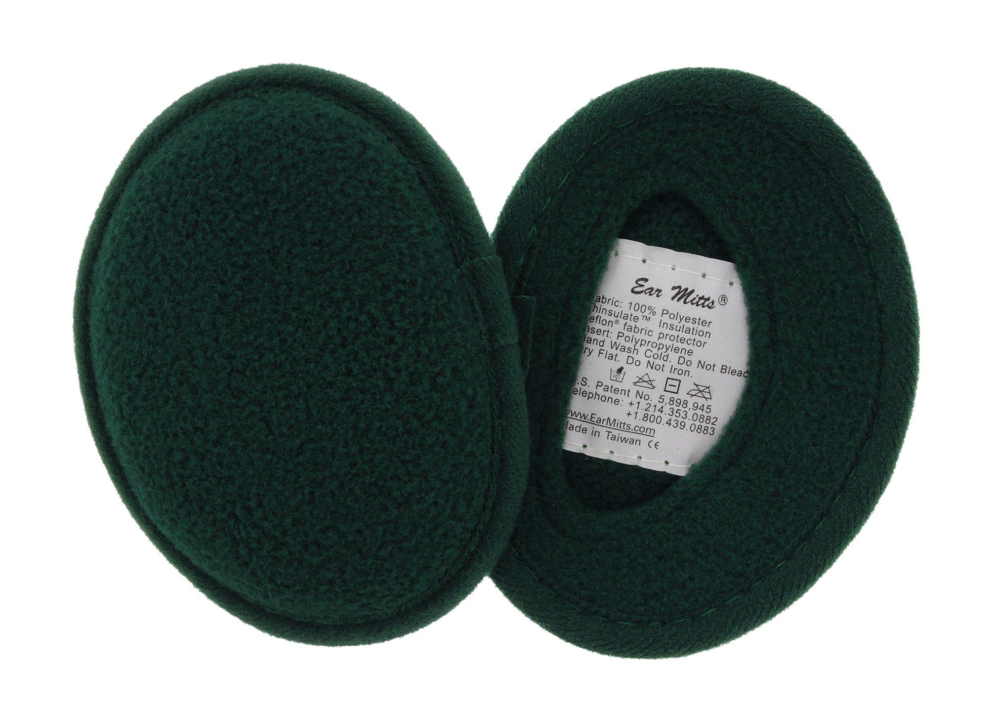 Ear Mitts Bandless Ear Muffs For Men, Hunter Green Fleece Ear Warmers, Small by Ear Mitts