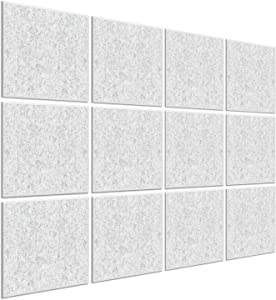 BUBOS 12 Pack Acoustic Panels, 12 X 12 X 0.4 Inches Studio Foam Sound Proof Padding, High Density Beveled Edge Soundproofing Insulation Absorption Panel, Acoustic Treatment for Home Office,Silver Grey