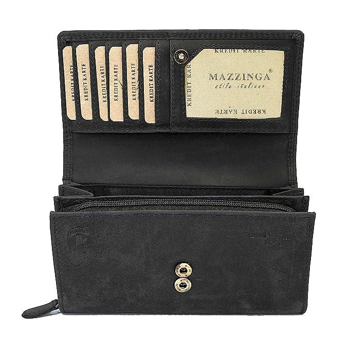 Damen Geldbörse Luxus Büffelleder Geldbeutel Portemonnaie Frauen viele Fächer mit Fotofach (Schwarz)