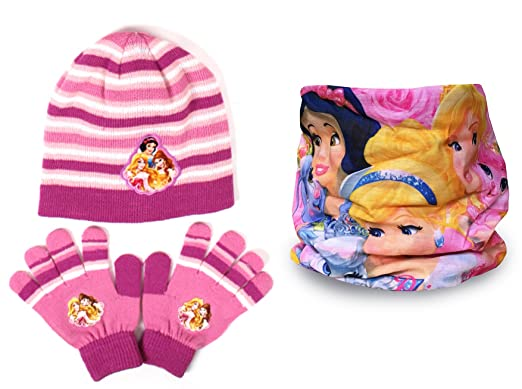 Disney Girls Princess Hat /& Gloves Set Purple One Size