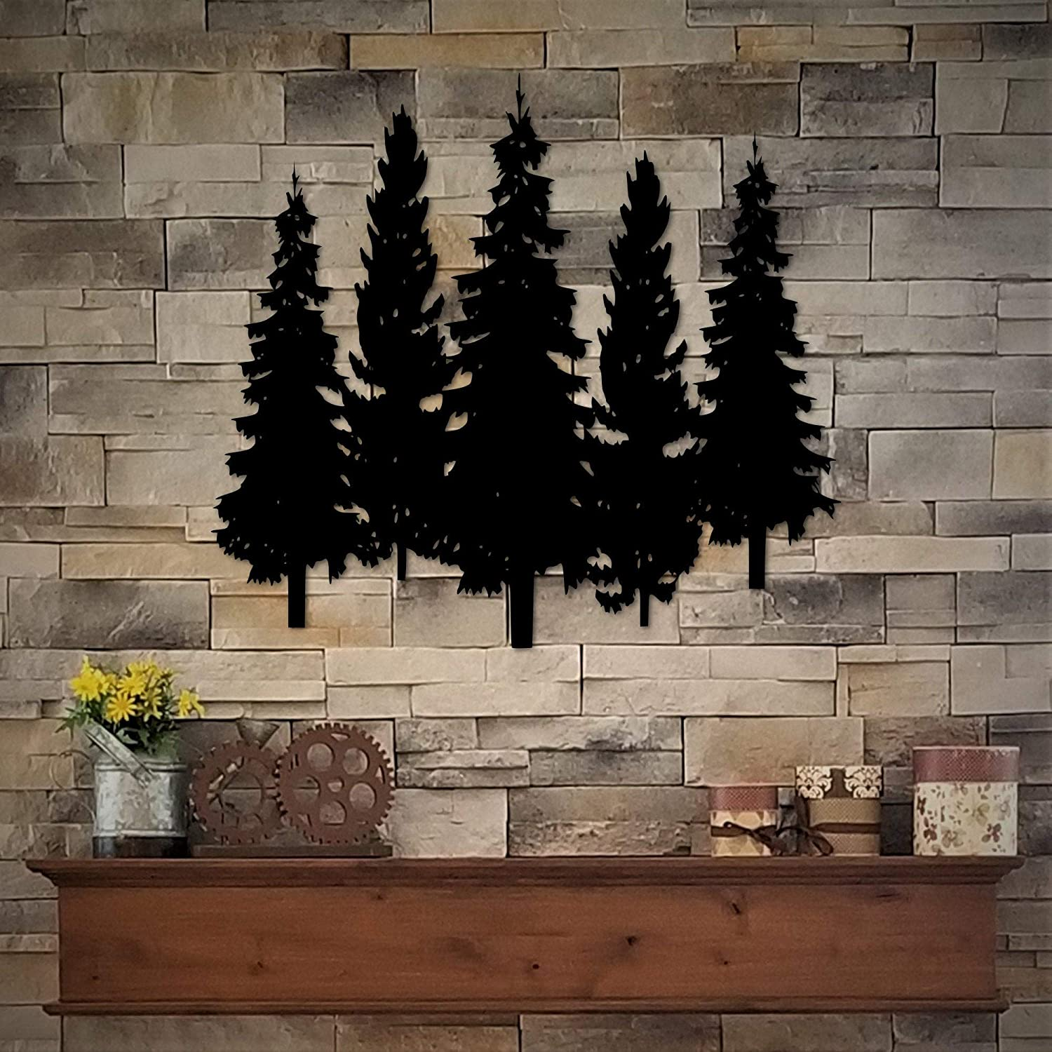DKISEE Metal Pine Trees - Group of 5 Pine Trees Metal Wall Art - Rustic Decor for Home - Cabin Decor - Bathroom Wall Decor - Office Wall Hanging - 14 Inch Black Metal Wall Art - SRD720