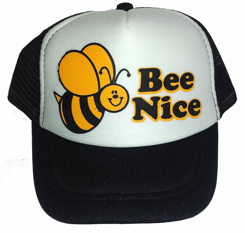 fd327c6e4 Amazon.com: ThatsRad Toddler Bee Nice Bumble Mesh Trucker Hat Cap ...