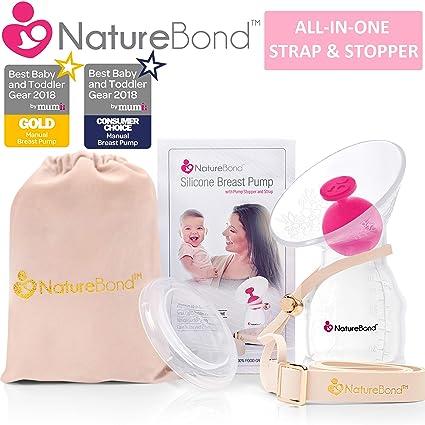 Sacaleches manual, Extractor de leche NatureBond de silicona, con tapa todo en uno, bolsa de transporte, sellado al vacío, de Sin BPA. 100% silicona ...
