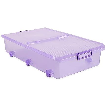 Tatay 1151113 Caja de Almacenamiento Multiusos Bajo Cama con Tapa y Ruedas, 63 l de