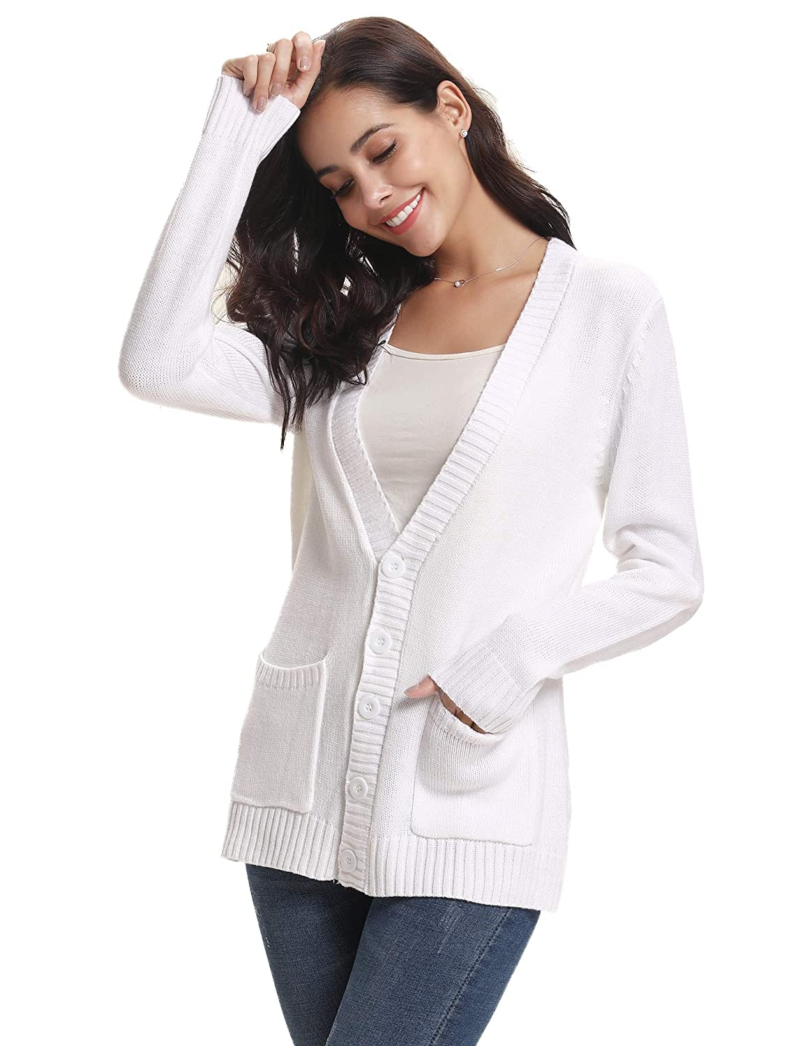 Abollria Cardigans Women Lightweight Long Sleeve Button Down Chunky Cable Knitted Sweater Jumper Cardigan Pockets