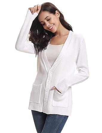 6329e93fbe85 Gilet Femme Tricot Chandail avec Poches Veste Boutons Cardigan Chic Crochet  Sweater Ouvert Elégant Manches Longues