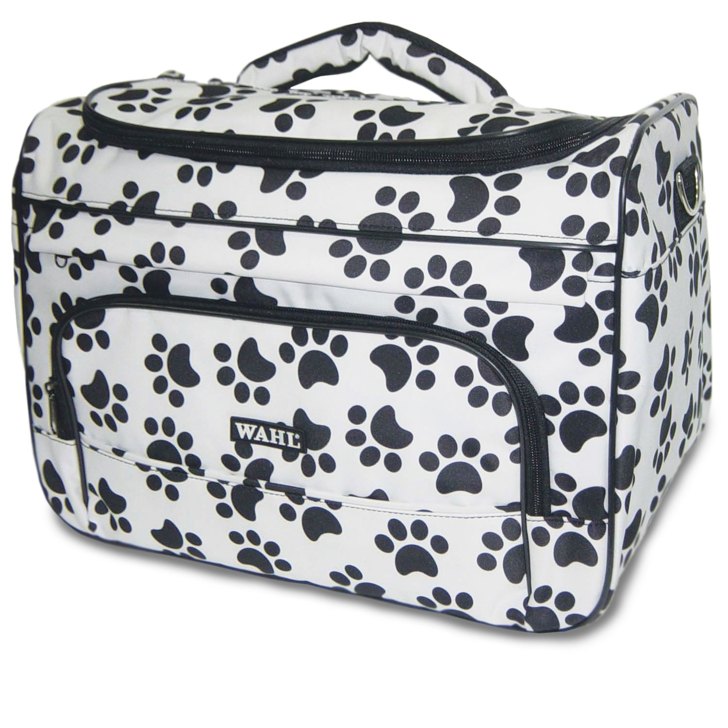 Black and White Paw Print Zippered Pet Travel Bag Wahl Professional Animal Paw Print Travel Tote Bag Black and White  97764-001