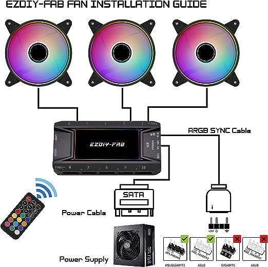 EZDIY-FAB Moonlight Ventilateur de Bo/îtier RGB 120mm avec 10-Port Hub Ventilateur et T/él/écommande,Carte M/ère Aura Sync,Contr/ôle de Vitesse,Ventilateur Adressable pour Bo/îtier PC-6 Pack