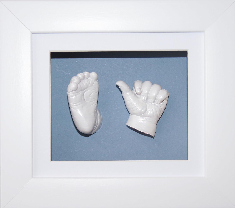 Anika-Baby Kit de moulage pour bébé Cadre boîte 3D Blanc Passe-partout blanc-fond bleu-peinture blanc métallique