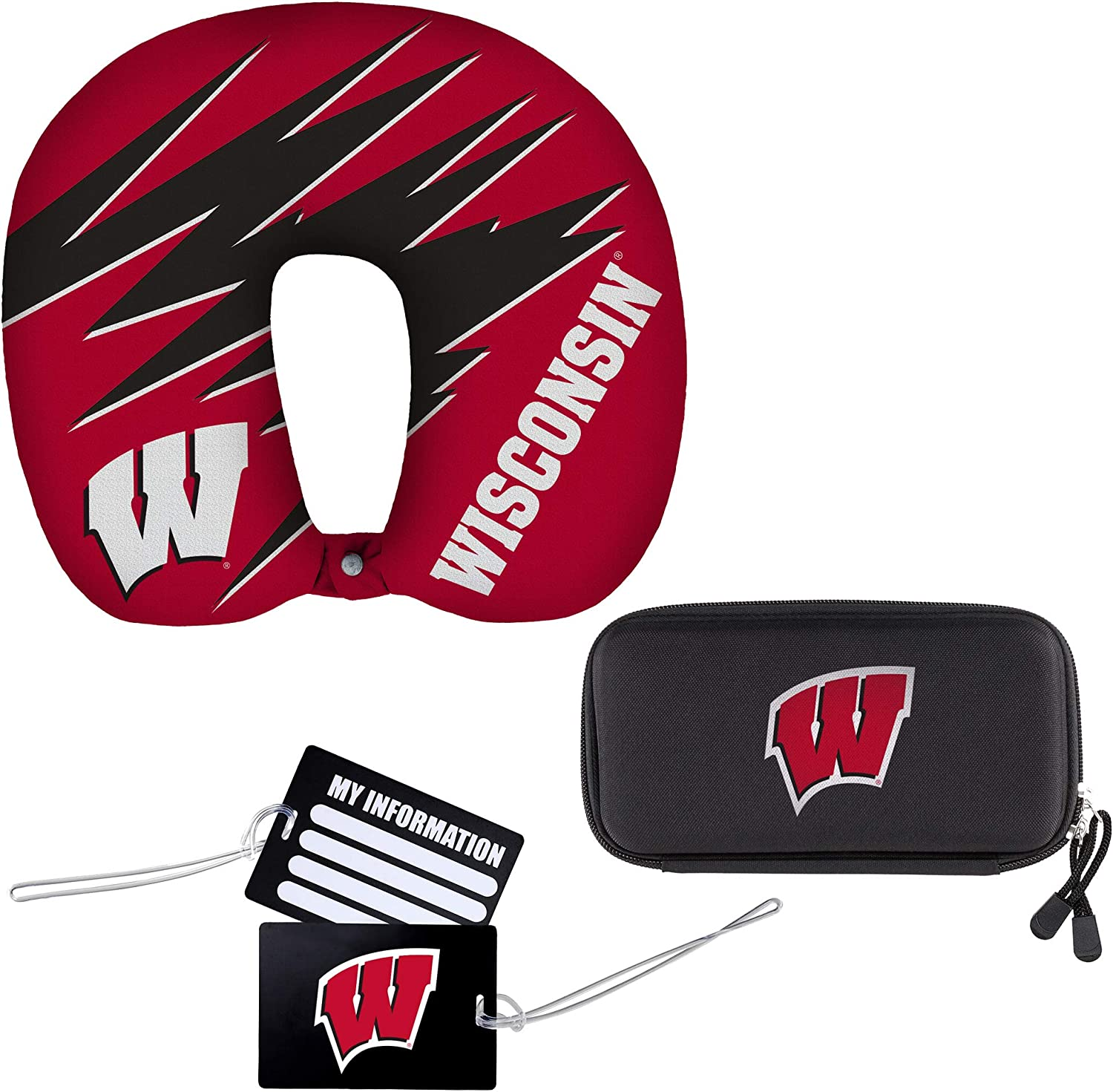 The Northwest Company Officially Licensed NCAA Wisconsin Badgers 4-Piece Travel Set Tags Red Utility Cord Case Set of 2 Luggage I.D Comfort Travel Pillow 13 x 3 x 12 inches