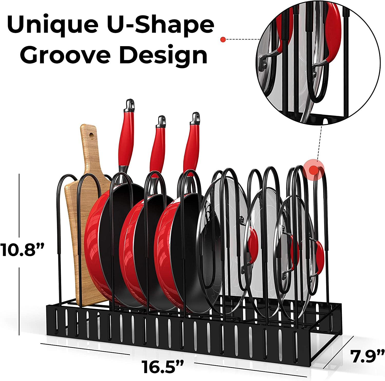 Pot and Pan Organizer for Cabinet, Adjustable 8 Non-Slip Tiers Pot Rack Organizer with 3 DIY Methods, Kitchen Under Cabinet Organizer Rack for Pots and Pans, Black Steel Cookware Organizer (UPGRADED): Kitchen & Dining