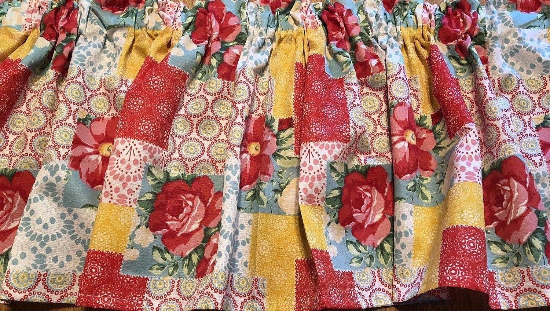 Red Farmhouse Patchwork Floral Valance Sale Window Curtain 43 W x 15 L