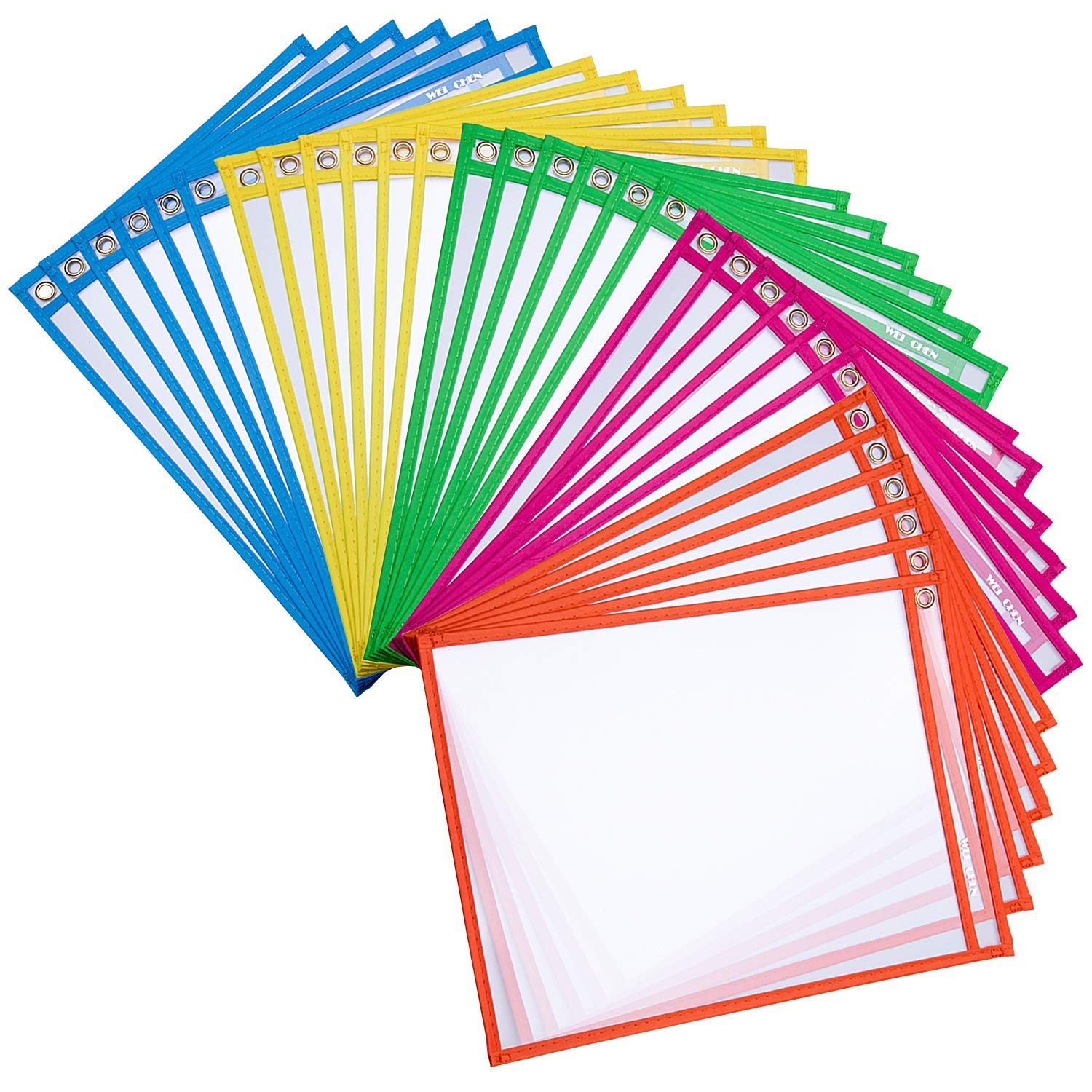 Dry Erase Pockets Rusable Dry Erase Sleeves 30 Pack Eraseble Pocket Sleeve Protect Clear Pocket with Hole Hanger and Colorful Edge(5colors)  by HW