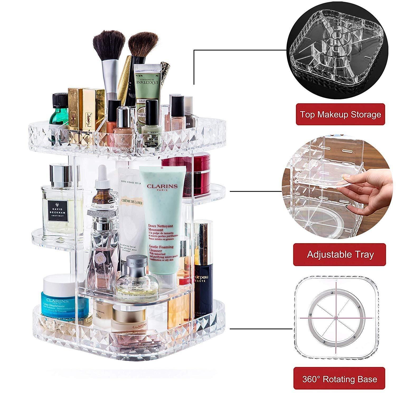 Cristal Transparent Acrylique Maquillage Bo/îte De Rangement 360 Degr/és De Rotation R/églable Cosm/étiques Cadre Bo/îte De Rangement De Bijoux Pr/ésentoir De Parfum Cosm/étiques Support Bo/îte De Rangement A
