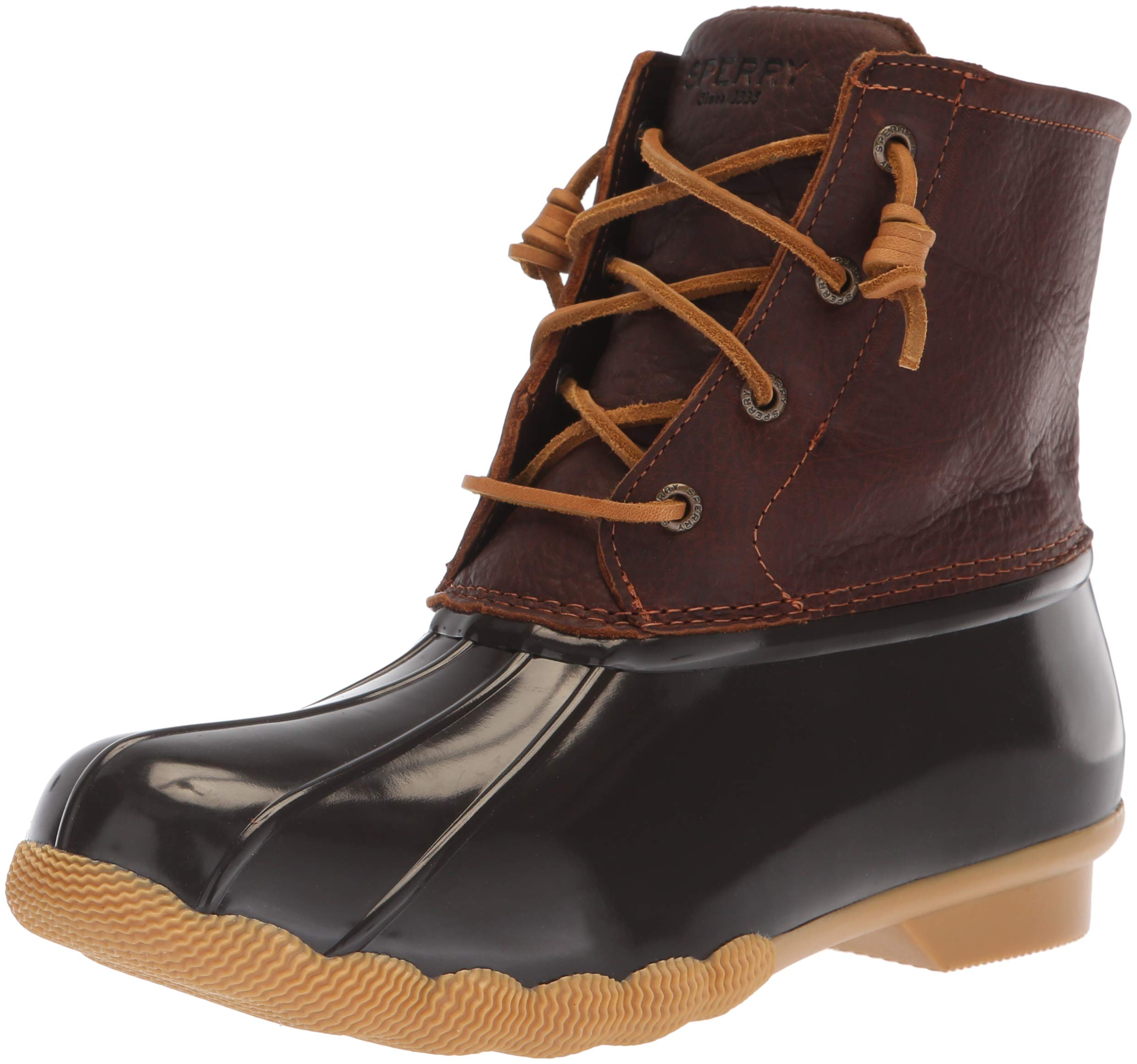 Sperry Top-Sider Women's Saltwater Rain Boot, Tan/Dark Brown, 9 Wide US