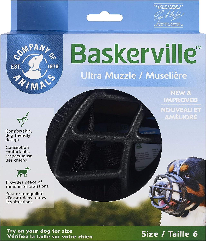 Baskerville Ultra - Bozal de goma, Negro, Talla 6 (Longitud: 13 cm/Anchura: 41 cm)