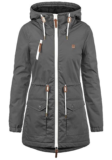 wholesale dealer dbf7b ebbd4 DESIRES Tilonga Damen Übergangsparka Parka Übergangsjacke Lange Jacke mit  Kapuze