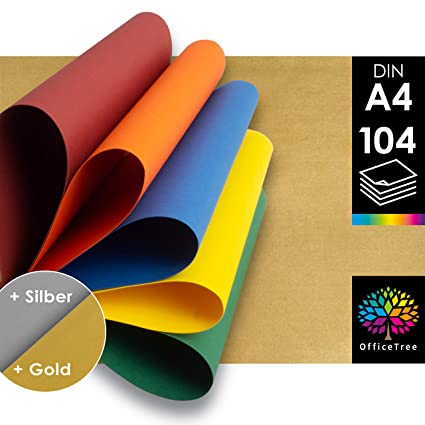 OfficeTree 104 Papel de Color A4 - 130g/m² niños cartulina ...
