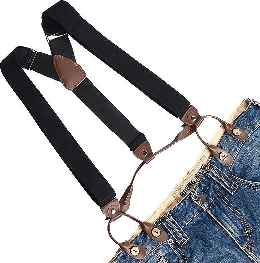 Mens Braces 6 Button Holes Heavy Duty Trouser Elastic Belt Suspenders Adjustable