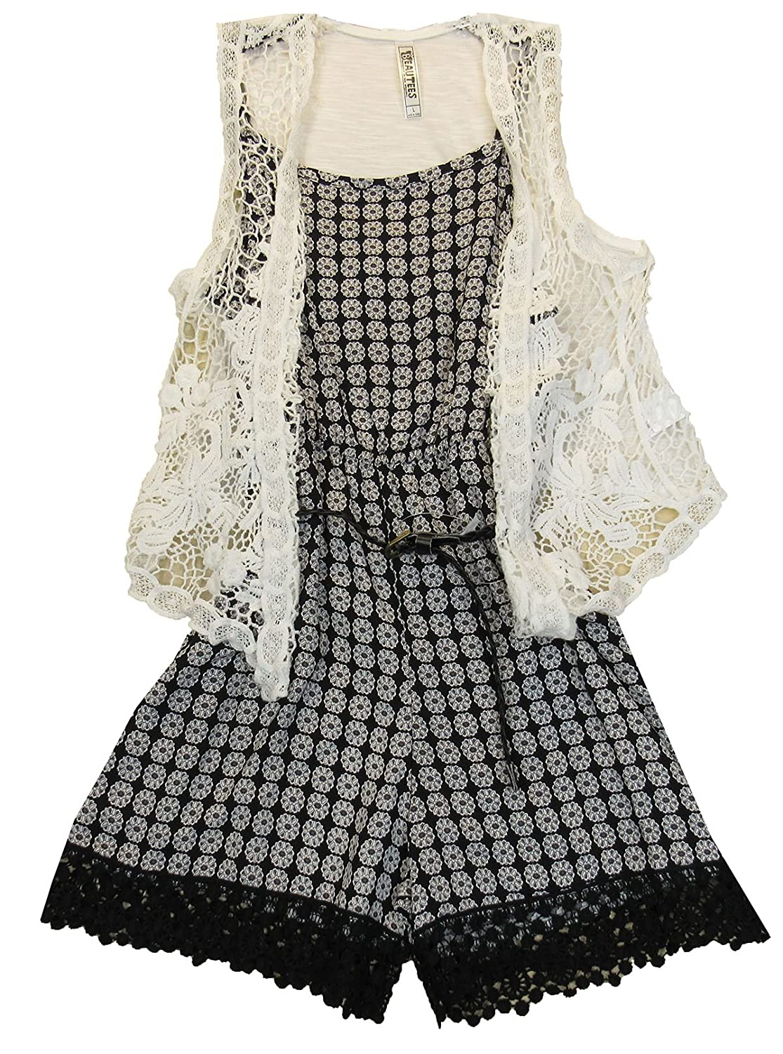 a21345f2f05 Beautees Big Girls (7-16) 2-Pc. Romper and Crocheted Vest