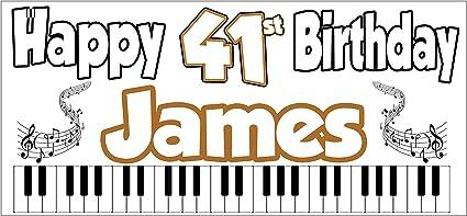 Cartel personalizable para teclado con piano de 41 cumpleaños ...