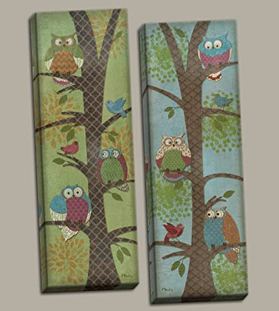 PosterArtNow Fun Fantasy Owl Panels Perfect for a Child s Room or Nursery Two 6x18in Stretched Canvases Ready to Hang Green Blue Brown