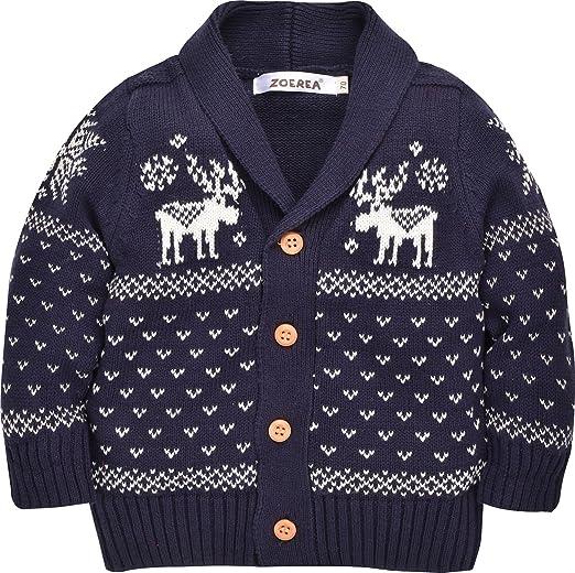 7e714cc1b91 Amazon.com  ZOEREA Toddler Unisex Baby Button-up Cotton Coat Deer Christmas Cardigan  Sweater (Label 100 Age 2-3T