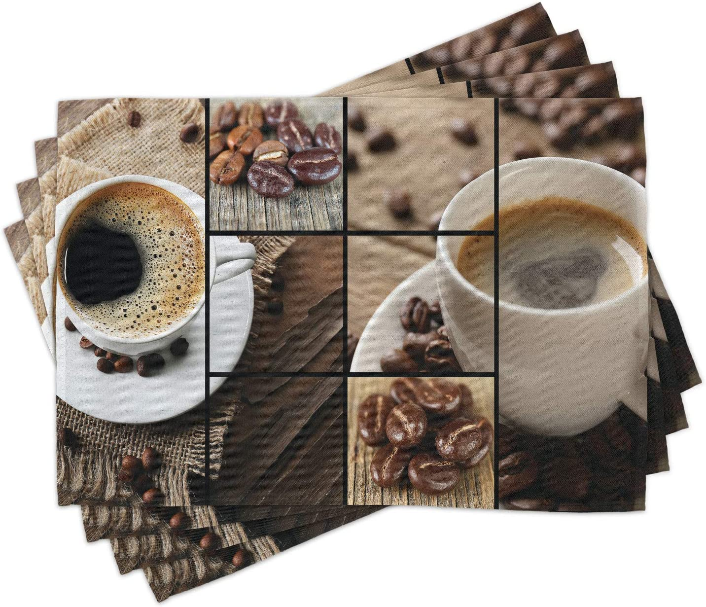 Amazon Com Ambesonne Brown Place Mats Set Of 4 Coffee Themed Collage Close Up Mugs Beans On Wooden Table Aromatic Roasted Espresso Drink Washable Fabric Placemats For Dining Room Kitchen Decor