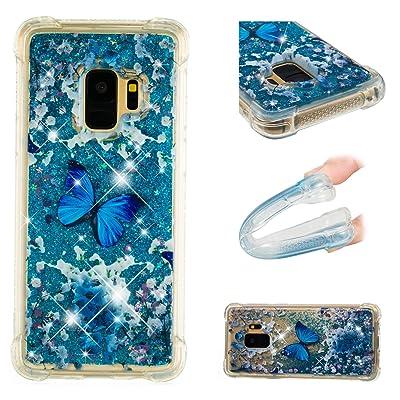 Coque Galaxy S9 Liquide Sables Mouvants Bleu,BONROY® 3D Case Fashion Étui Galaxy S9 Silicone Coque de Protection Transparent Crystal Clair Souple TPU Soft Quicksand Shell Scratch-Proof Cas de Téléphon