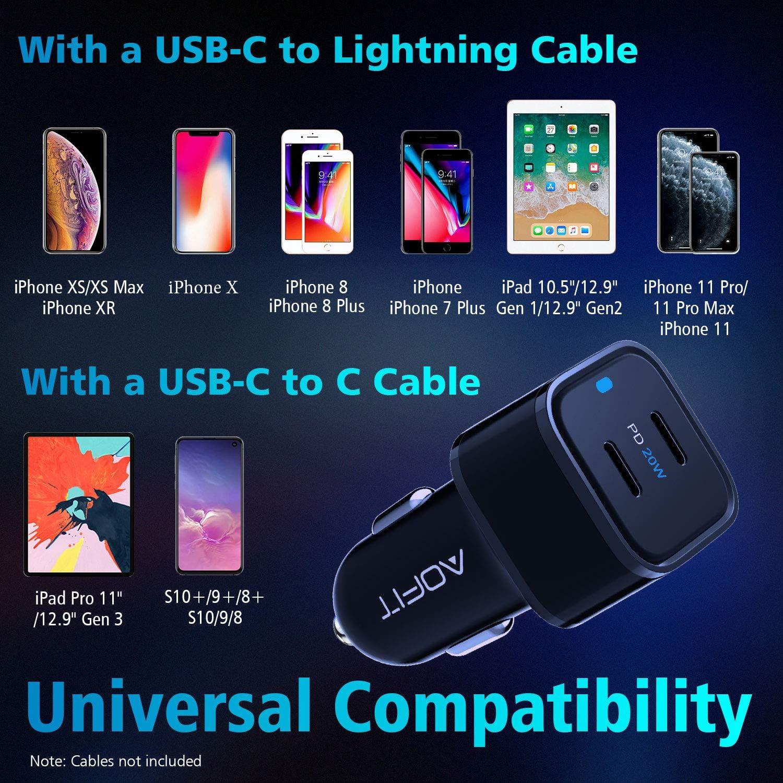 Galaxy Note 20 Ultra//S20 iPad Pro 12.9//11 AOFIT 40W Car Adapter with Dual 20W PD Ports for 12//Pro Max//Pro//mini//SE//11//XS Max//XS//XR USB C Car Charger