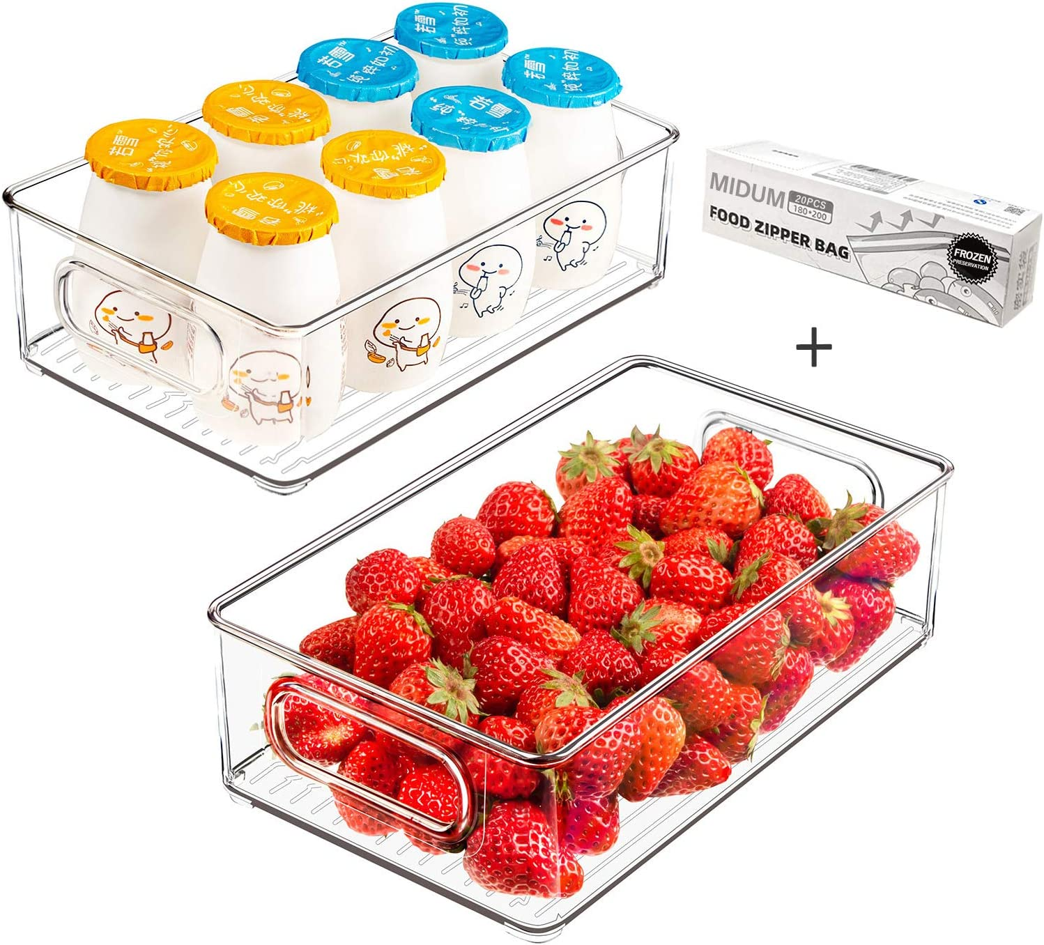 Refrigerator Organizer Bins, 2pcs Clear Plastic Stackable Fridge Containers with Handles for Freezer, Cabinet, Fridge, Kitchen Pantry Organization and Storage, BPA Free, 10