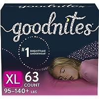 Goodnites Nighttime Bedwetting Underwear, Girls' XL (95-140 lb.), 63 Ct