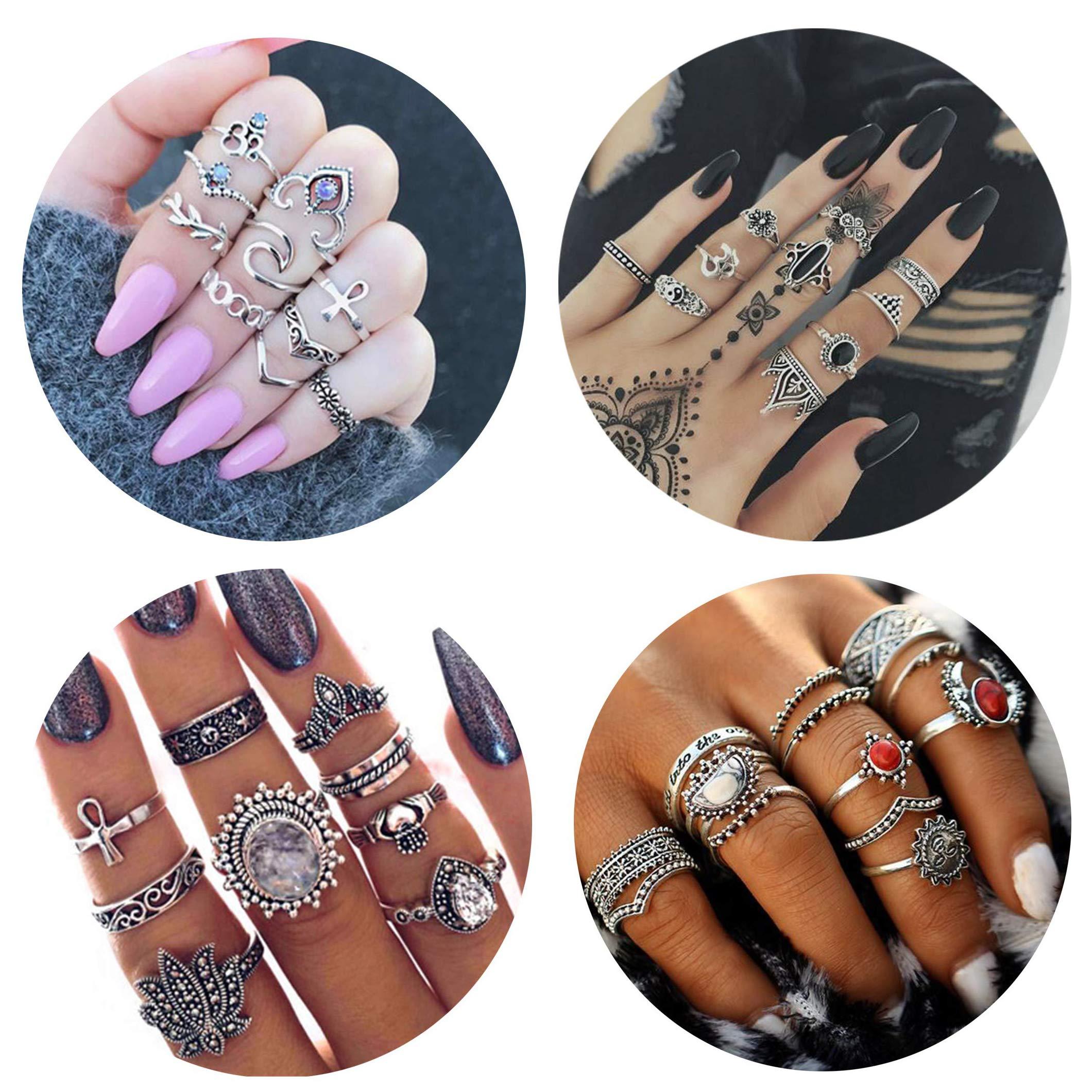 FIBO STEEL 42-63 Pcs Vintage Knuckle Rings for Women Girls Stackable Midi Finger Ring Set (A1: 42 Pcs a Set)