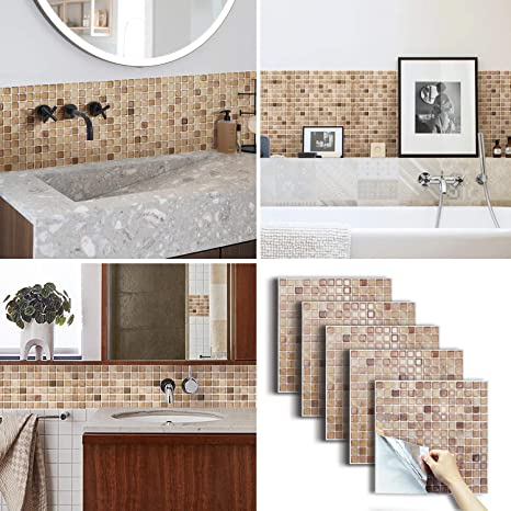 Amazon Com Beaustile Decorative Tile Stickers Peel And Stick Backsplash Fire Retardant Tile Sheet Walnut 5 12 2 X 12 2 Kitchen Dining