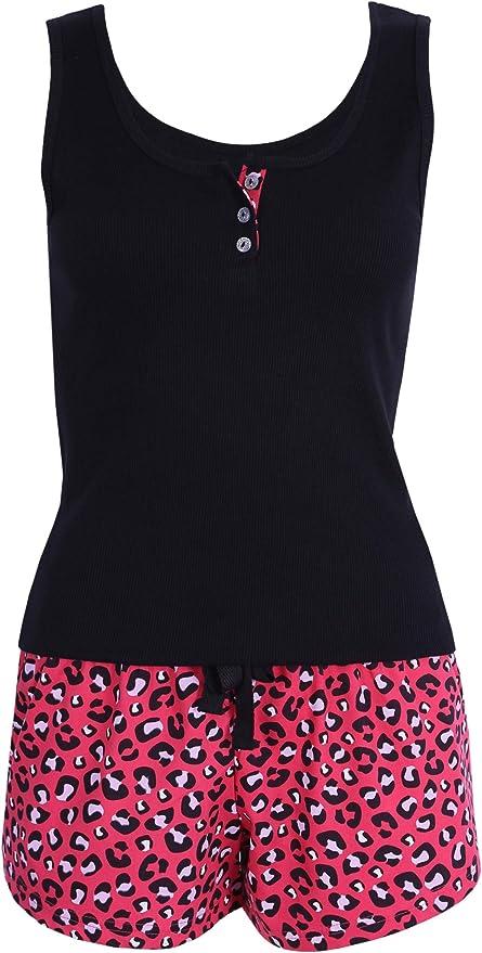 Pijama Rojo y Negro con Estampado de Leopardo M: Amazon ...