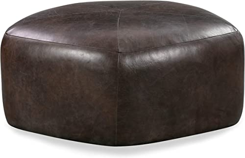 Poly and Bark Porto Modern Leather Ottoman Pouf Madagascar Cocoa