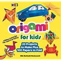 Origami for Kids: 20 Projects to Make Plus 100 Papers to Fold (Happy Fox Books) Fun and Creative Paperfolding Kit with Easy Fold Lines and Instructions for Bunnies, Crabs, Bugs, Dogs and More