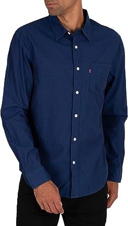 Levis de los Hombres Camisa de Manga Corta con Bolsillo Sunset, Azul: Amazon.es: Ropa y accesorios
