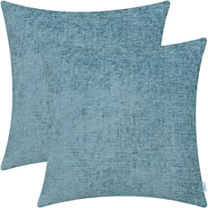 CaliTime Pack of 2 Cozy Throw Pillow Covers Cases for Couch Sofa Home Decoration Solid Dyed Soft Chenille 18 X 18 Inches Smoke Blue