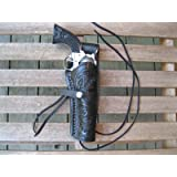 """Western Gun Holster - Black - Right Handed - for .22 Caliber single action revolver - Size 6"""" - tooled Leather"""