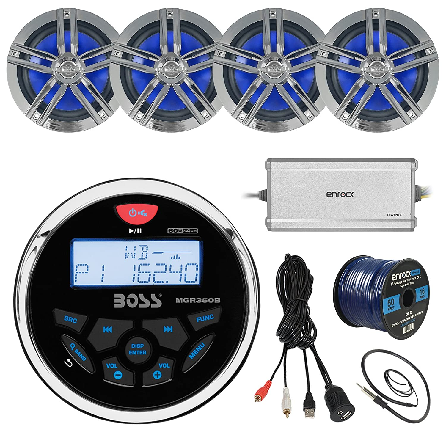 Boss Audio MGR350B Bluetooth in Dash Marine Gauge Style Digital Media AM//FM Receiver Bundle Combo with Enrock USB 3.5MM AUX to RCA Interface Mount Cable Enrock 22 Wired Radio Antenna Boss Enrock MGR350B USBAUX2RC EKMR1