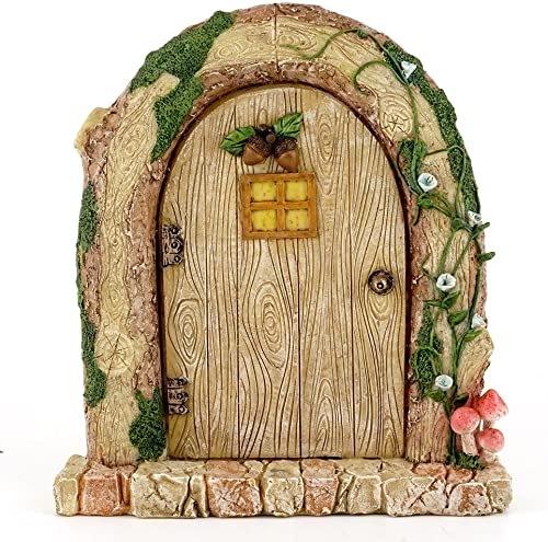 Top Collection 6.25 Miniature Fairy Garden Terrarium Charming Wood Log Door Decor, Small