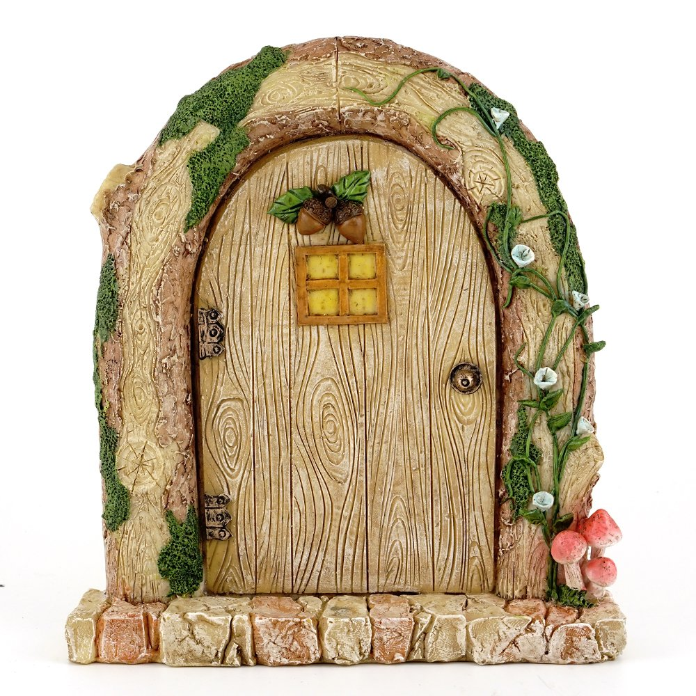 Top Collection 6.25'' Miniature Fairy Garden & Terrarium Charming Wood Log Door Decor, Small