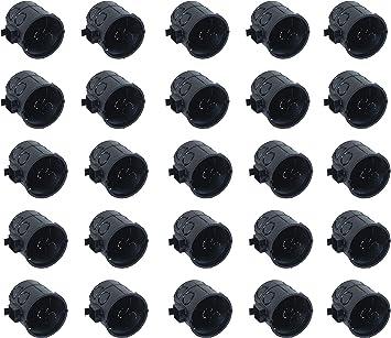 Meister – Caja de interruptores empotrada – Negro – 25 Unidades – para la instalación de interruptores y enchufes/Caja de Pared con Conector de túnel/ Caja de derivación/Caja de derivación, 7460110: Amazon.es: Bricolaje